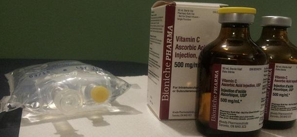 Intravenous vitamin c bottles cancer